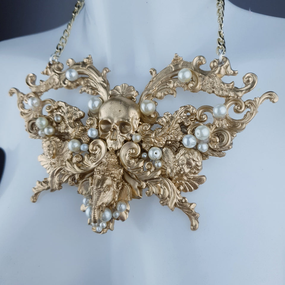 """Gulika"" Gold & Pearl Skull Ganesh Filigree Necklace"