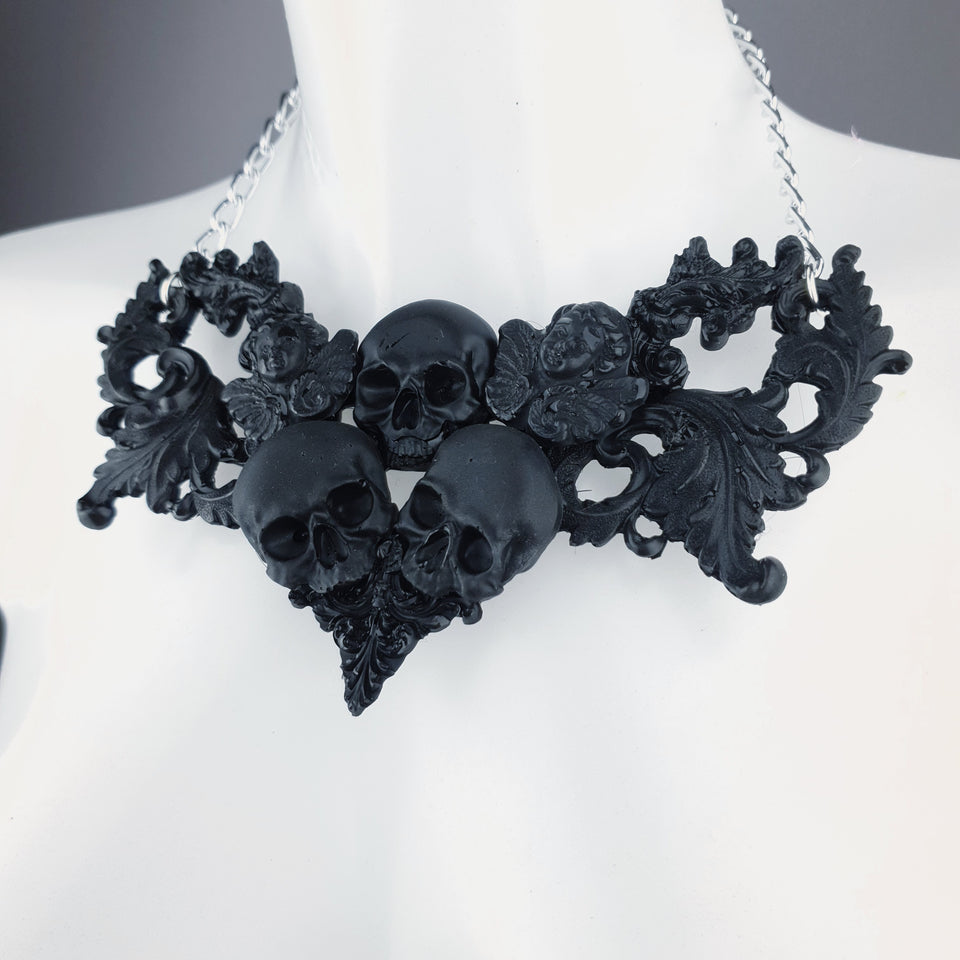 """Trinity"" Black Skulls & Filigree Necklace"