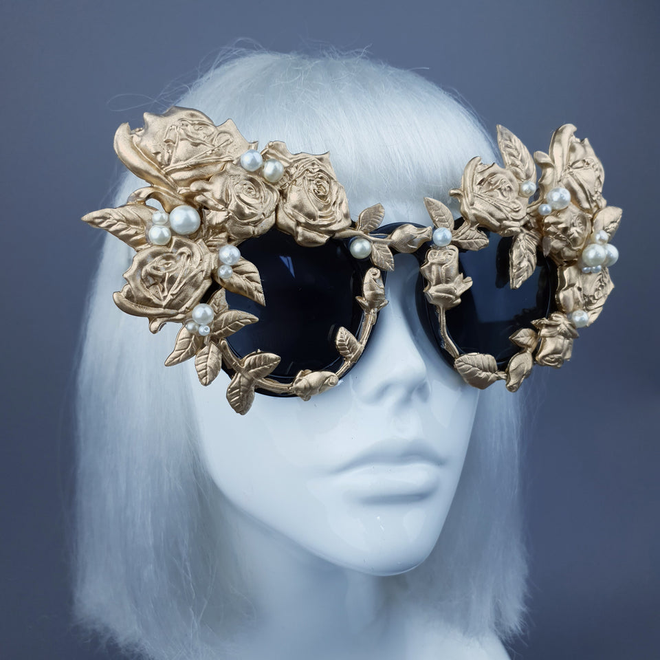 """Amour Sombre"" Gold & Pearl Roses Sunglasses"
