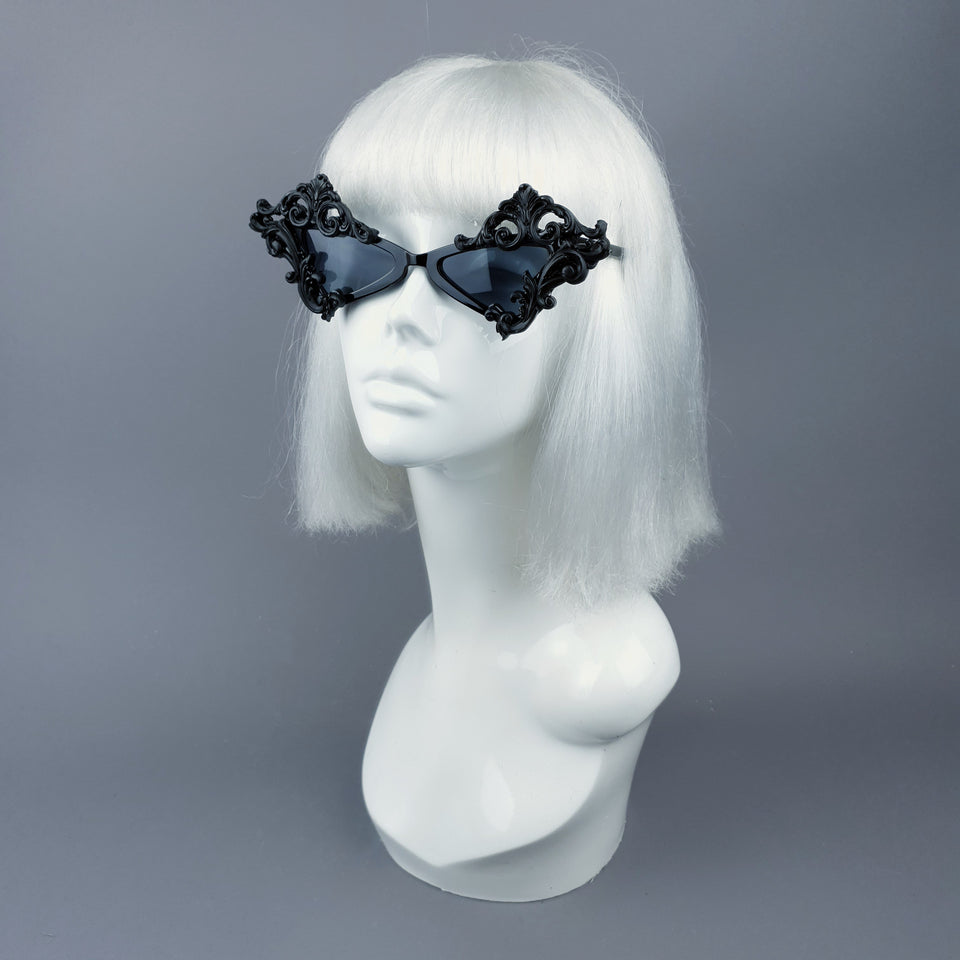 """Maira"" Black Filigree Diamond Shaped Sunglasses"