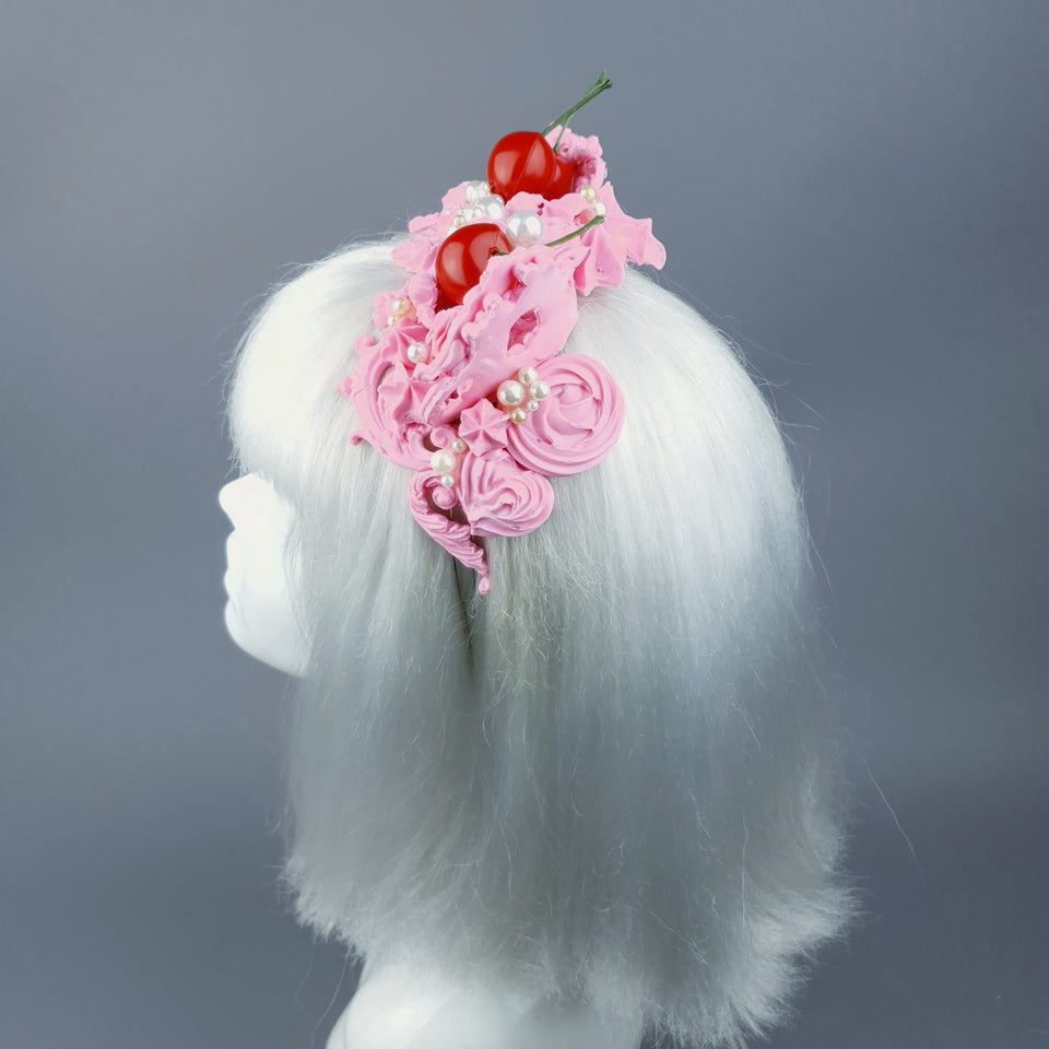 """Manĝi"" Pink Filigree & Cherry Cat Ear Headpiece"