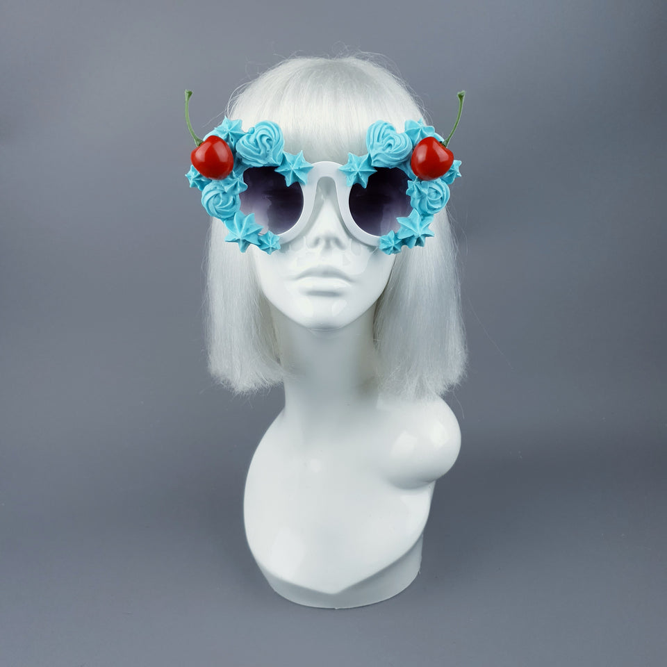 """Fondant"" Pastel Blue Frosting Icing Cherry Sunglasses"