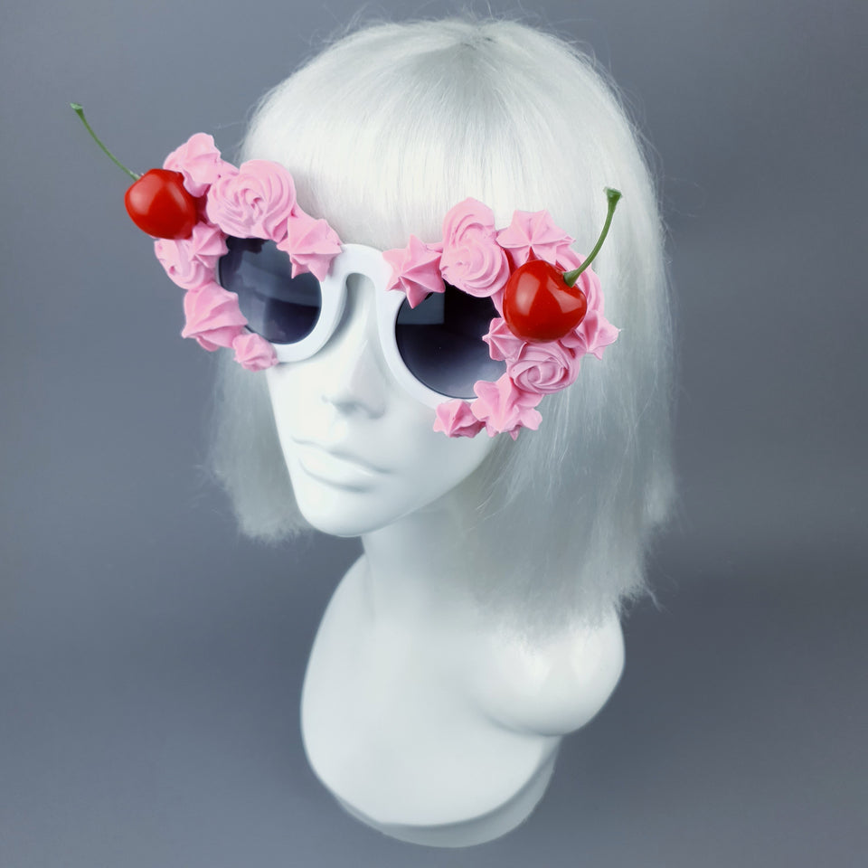 """Fondant"" Pastel Pink Frosting Icing Cherry Sunglasses"