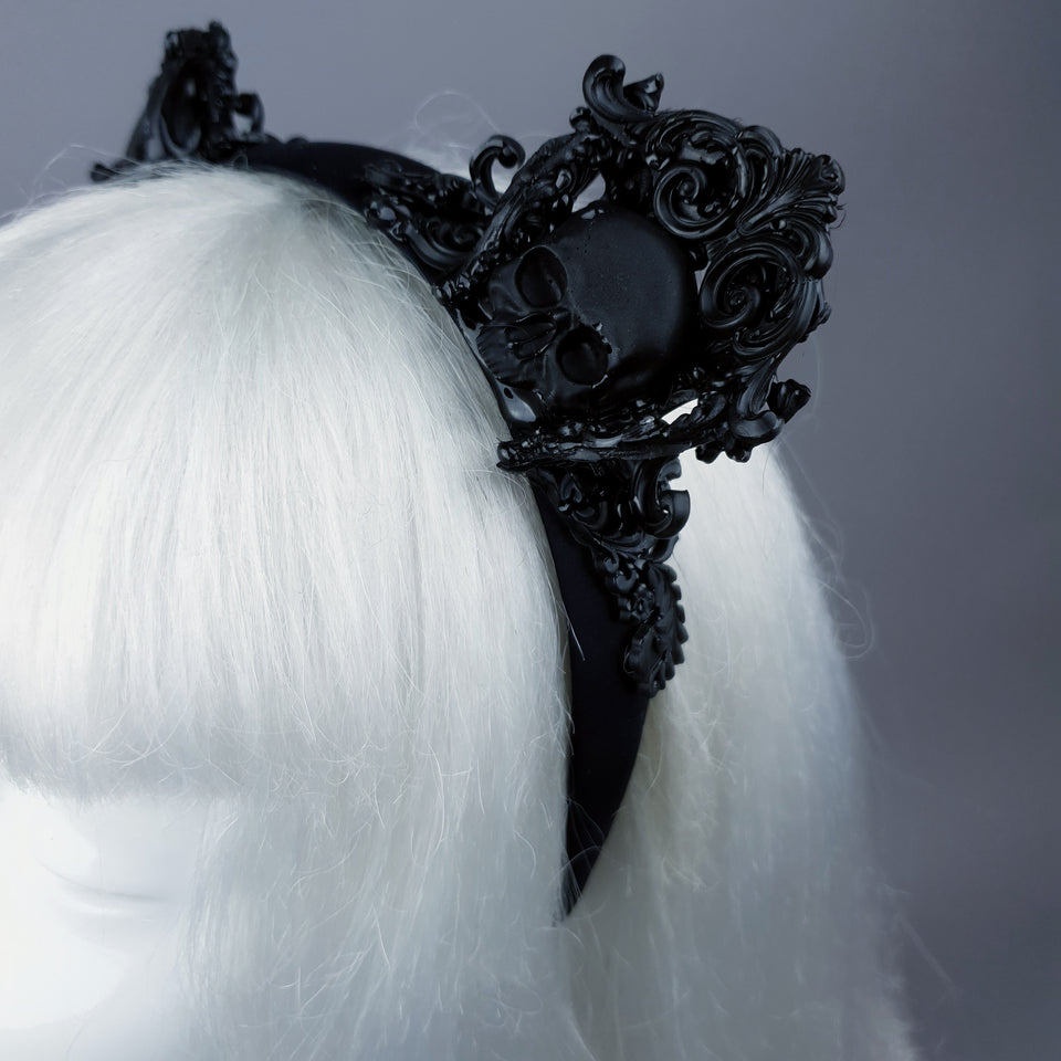 """Oishi"" Black Filigree & Skull Cat Ear Headband"