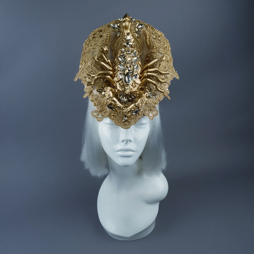 """Selket"" Gold Filigree, Jewel Scorpion & Lace Fascinator Hat"