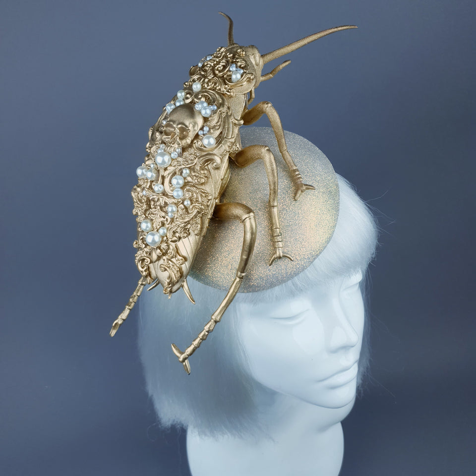 """Coro"" Giant Filigree Gold & Pearl Cockroach Fascinator Hat"