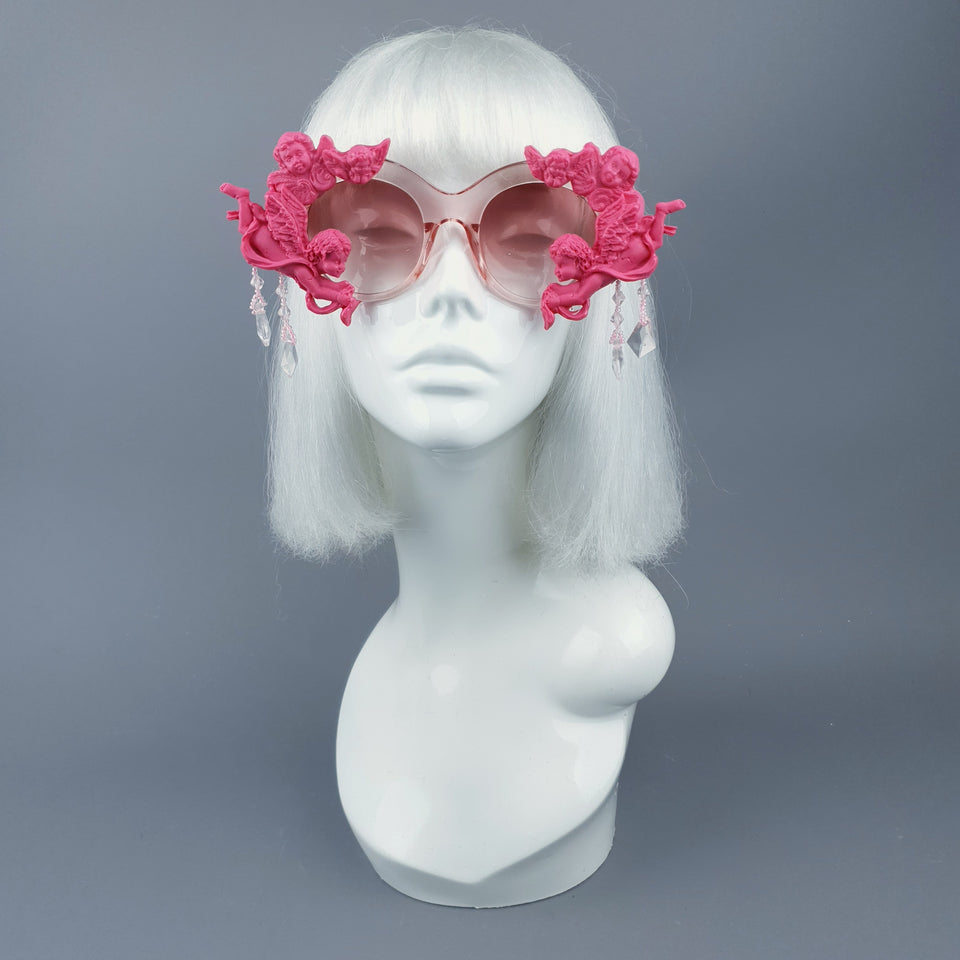 """Paradis"" OTT Statement Pink Cherub Filigree & Beading Sunglasses"