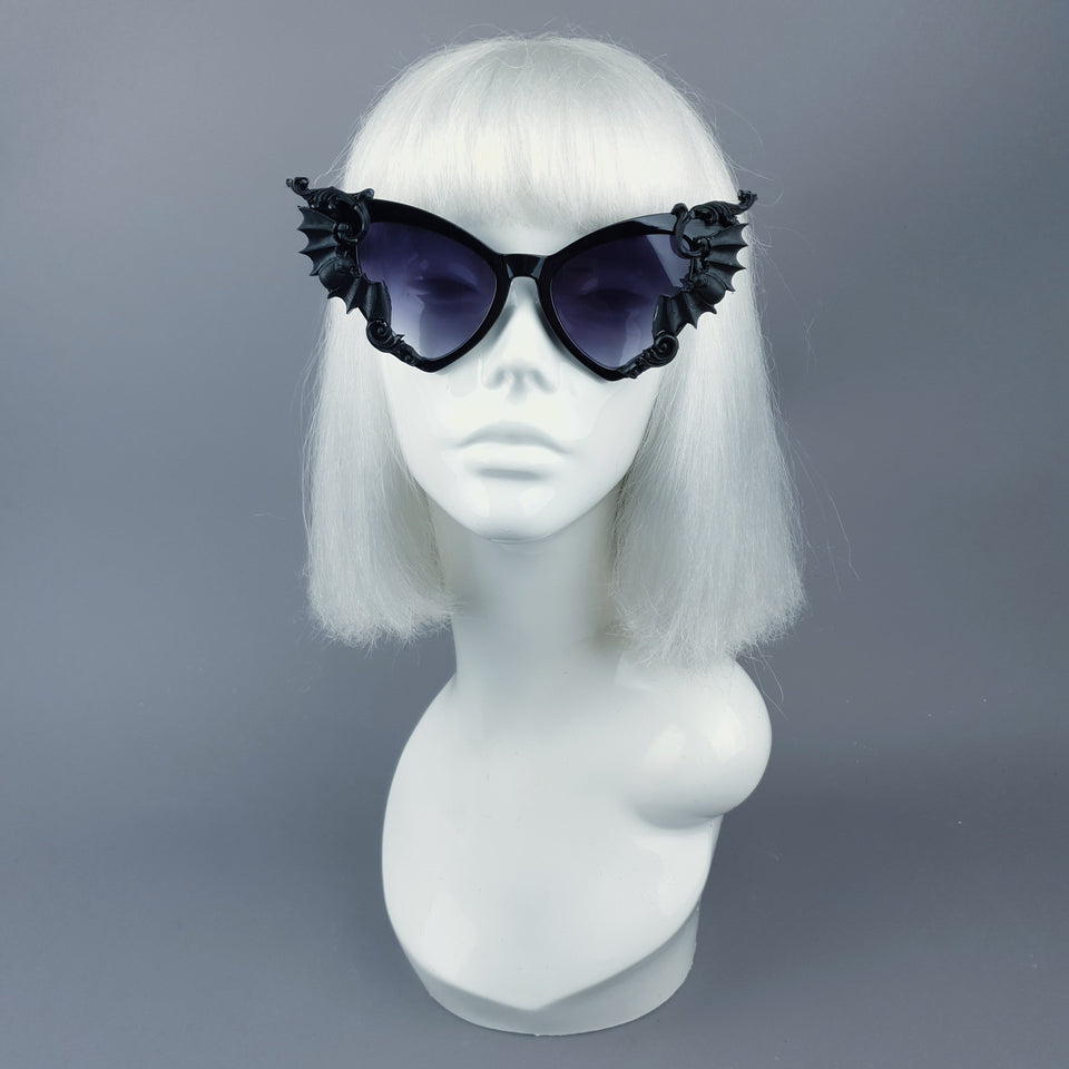 """Bats In The Belfry"" Black Filigree Baroque Rococo Sunglasses"
