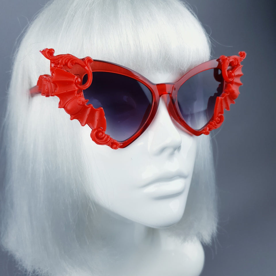 """Bats In The Belfry"" Red Filigree Baroque Rococo Sunglasses"