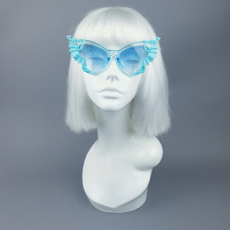 """Bats In The Belfry"" Blue Filigree Baroque Rococo Sunglasses"