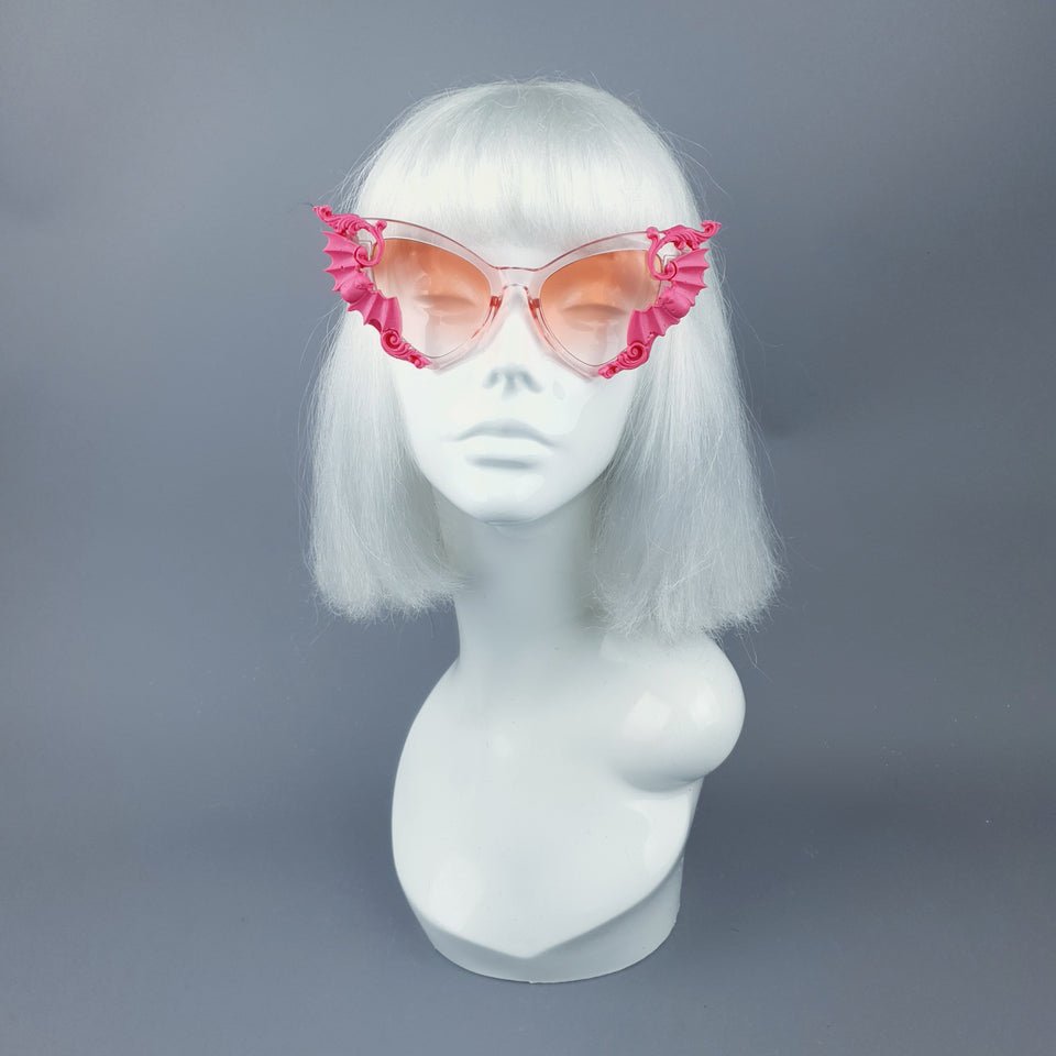 """Bats In The Belfry"" Pink Filigree Baroque Rococo Sunglasses"