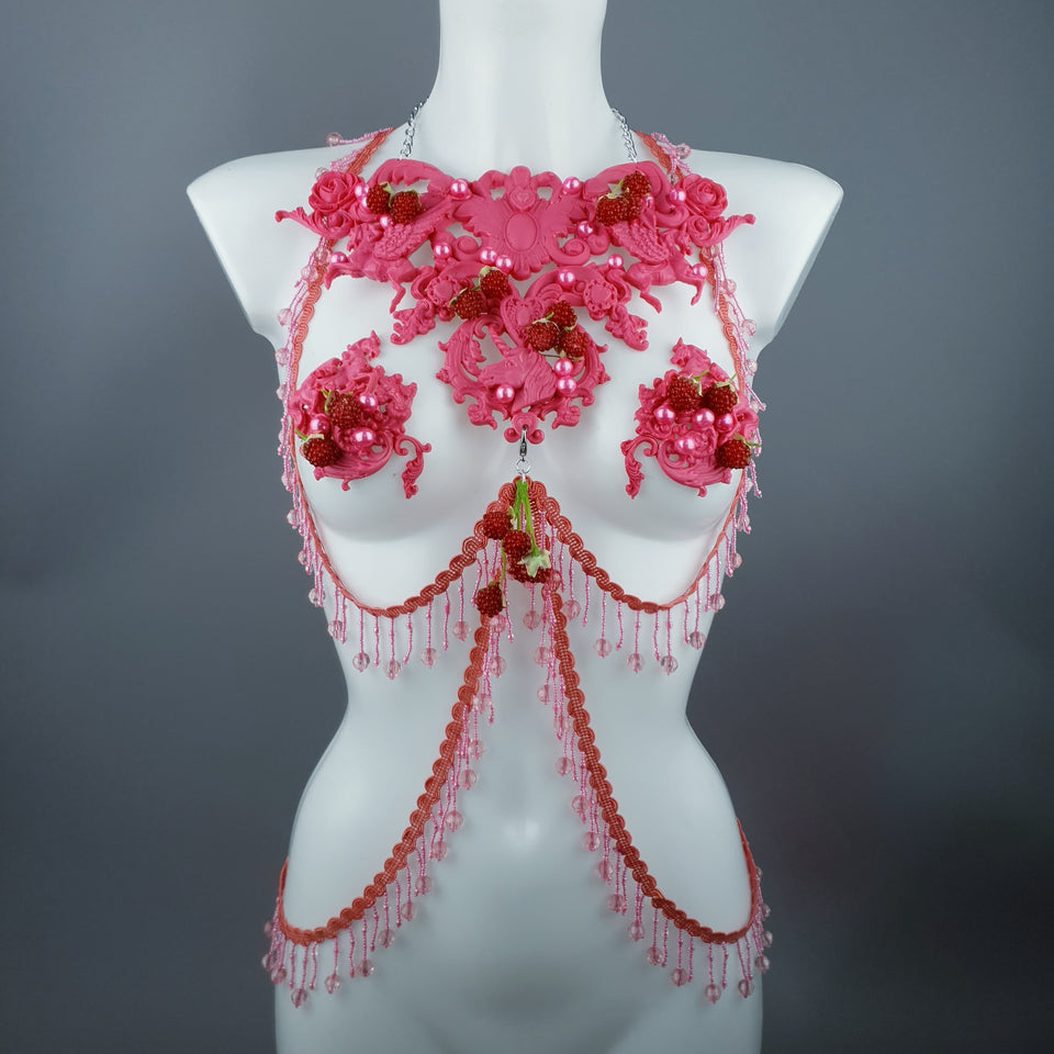 """Framboise"" Raspberry, Unicorn & Pearl Pink Harness Body Jewellery & Pasties."