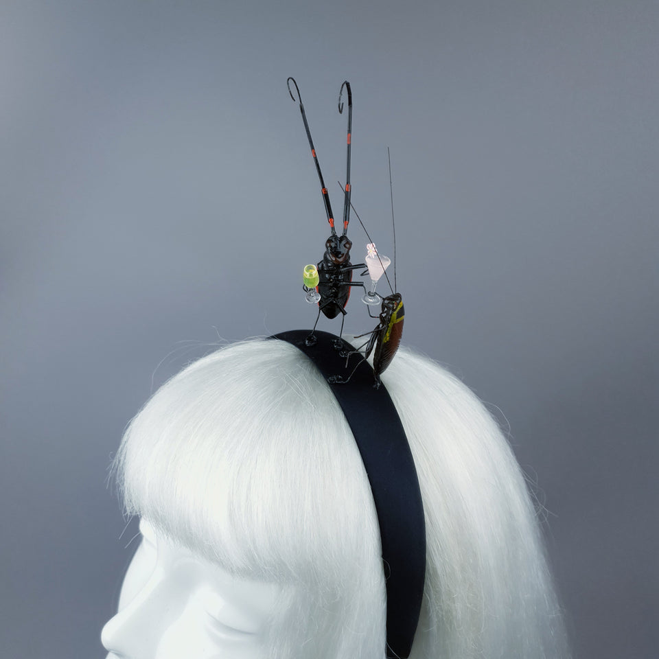 """Bottoms Up!"" Cochroach & Cocktail Insect Headband"