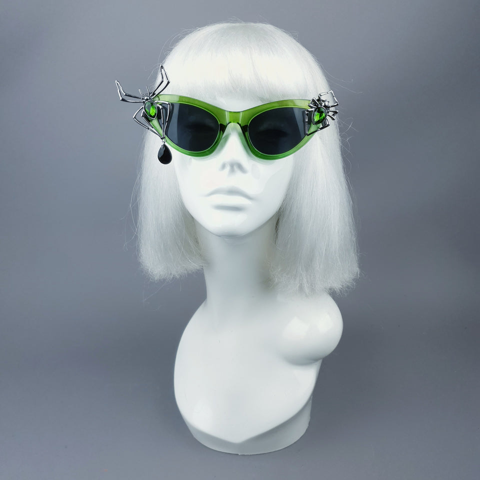 """Araniella"" Green Jewel Spider Catseye Sunglasses"