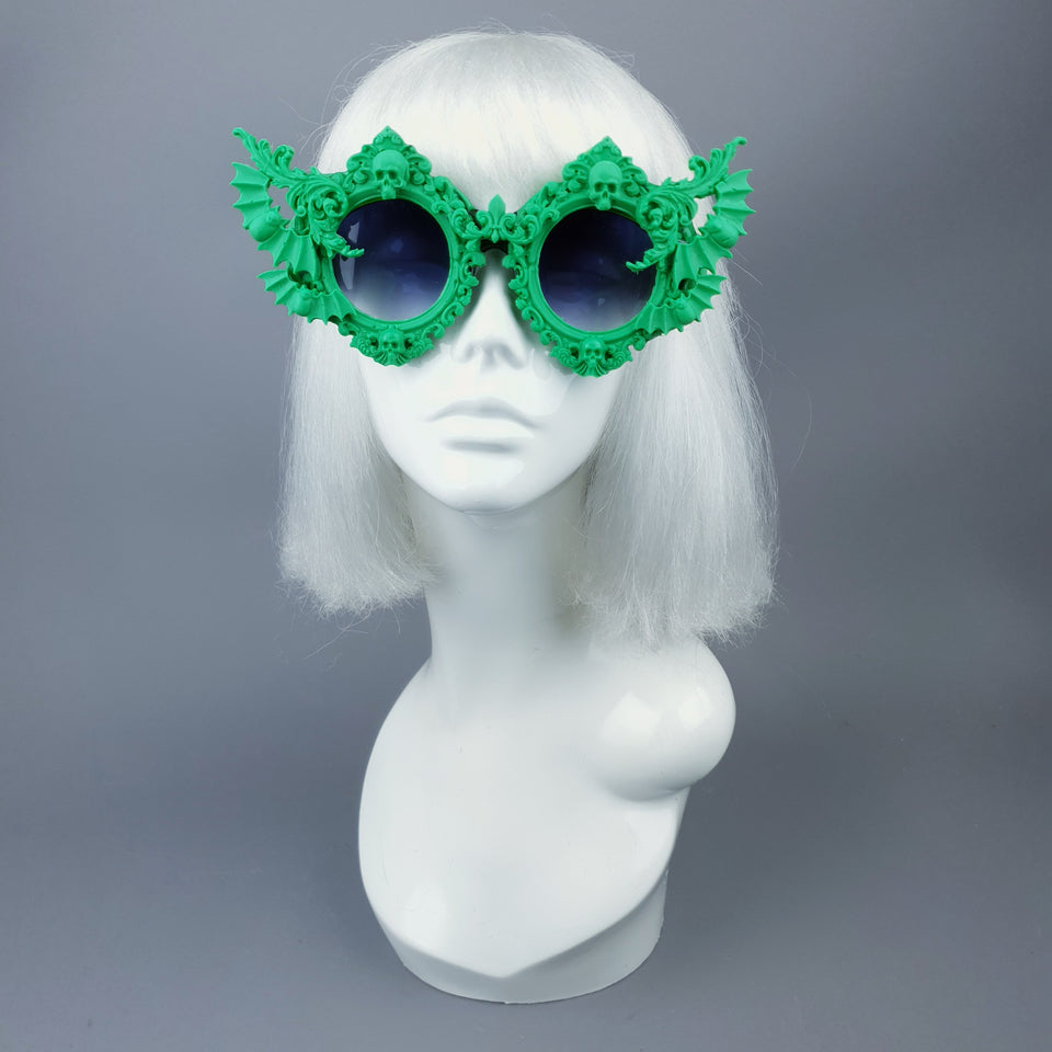 """Green Eyed Monster"" Skull, Bat & Filigree Sunglasses"