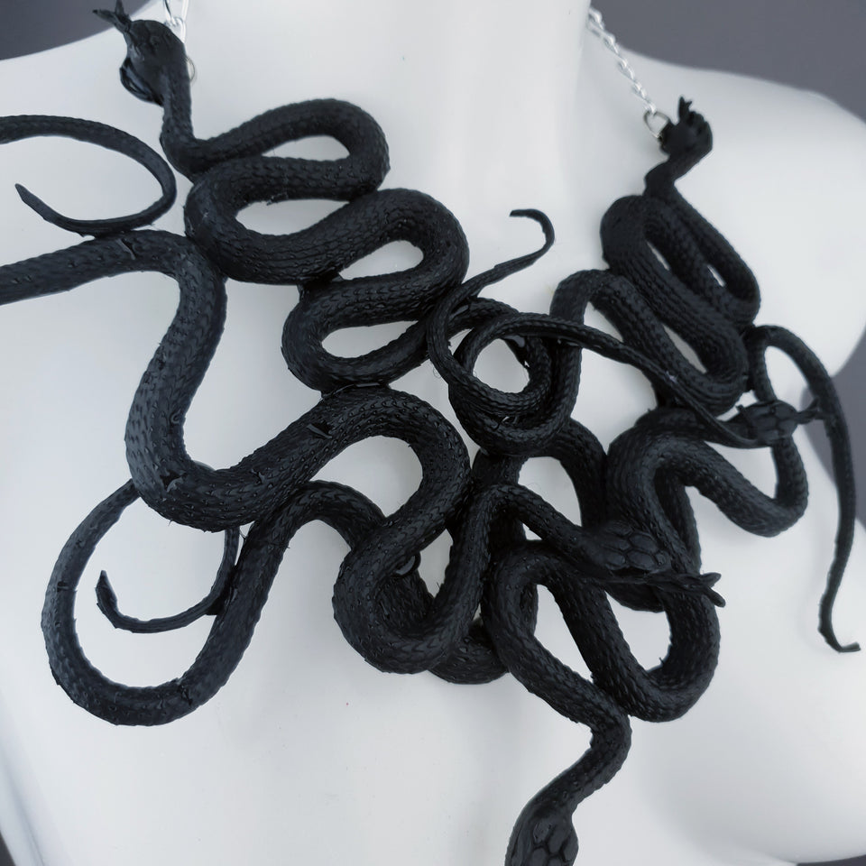 """Pantherophis"" Nest of Black Snakes Necklace"