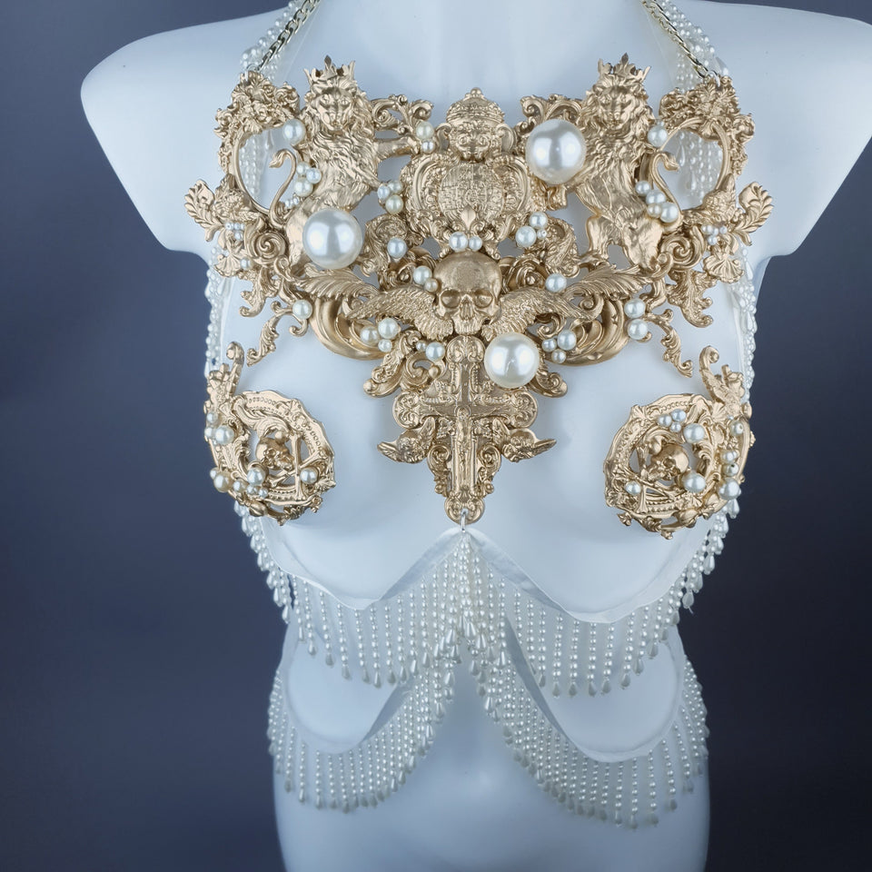 """Lavica"" Gold Lions, Rose & Pearl Harness Body Jewellery & Pasties."