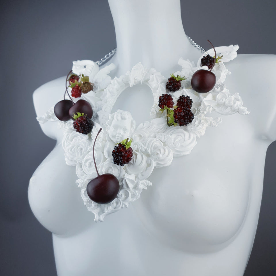 """Eton Mess"" Raspberry, Cherries & Cream Frosting Neckpiece"