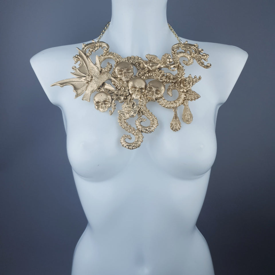 """Samael"" Gold Skulls, Tentacles, Hummingbird & Filigree Necklace"