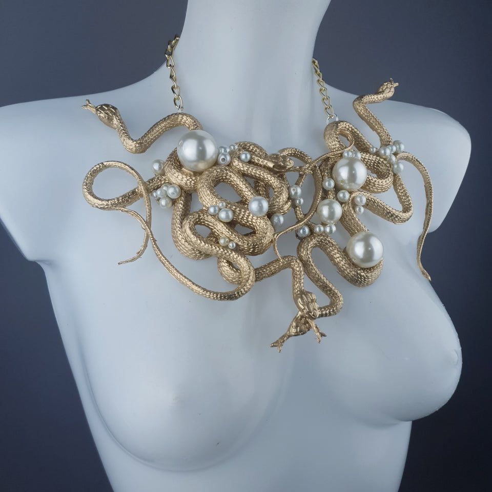 """Pantherophis"" Nest of Gold Snakes Necklace"