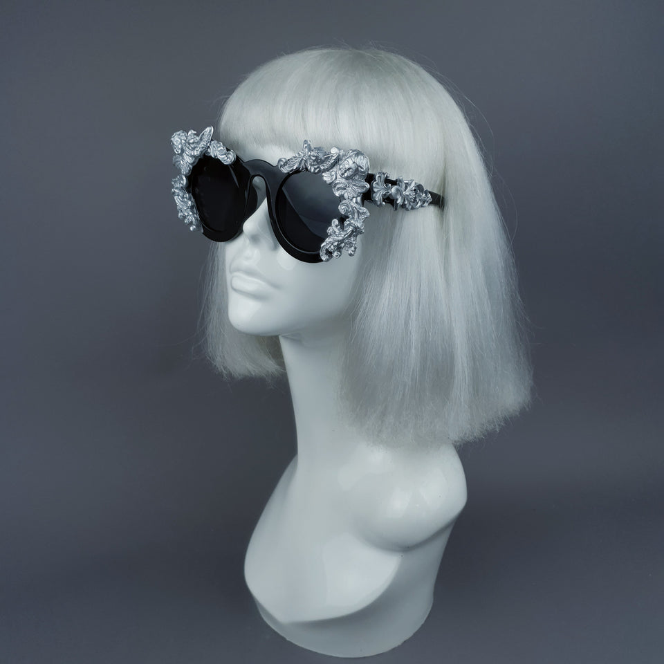 """Khalida"" Black & Silver Filigree Ornate Sunglasses"