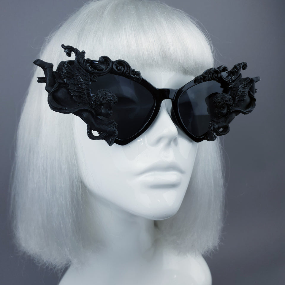 """Uriel""  Black Filigree Cherub Angel Sunglasses"