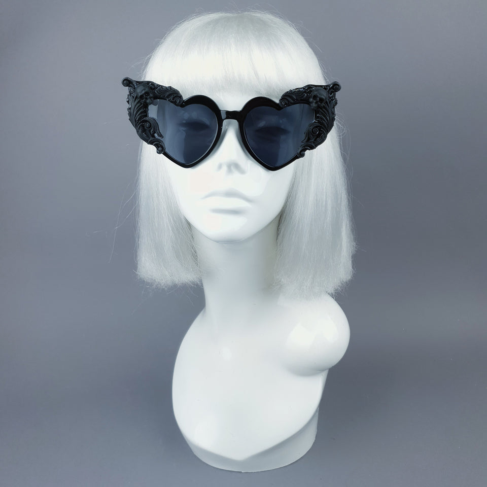 """Heart Breaker"" Black Filigree Skull Heart Shaped Sunglasses"