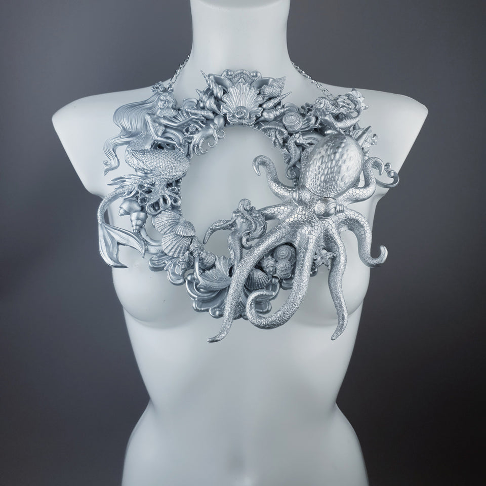 """Oceane"" Silver Octopus, Mermaid & Sea Filigree Neckpiece"