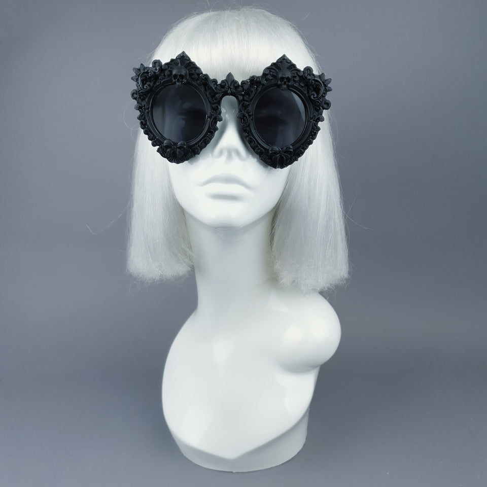 """Periwinkle"" Black Filigree & Skull Sunglasses"