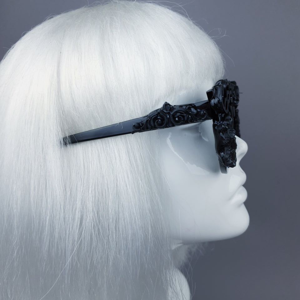 """Conspiracy"" Black Filigree 666 Sunglasses"