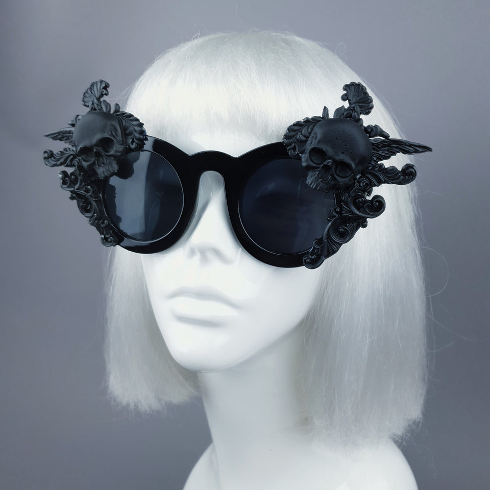 """Weirdo"" Black Filigree & Skull Sunglasses"