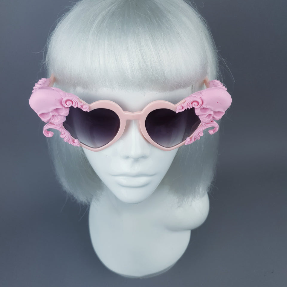 """Zusa"" Pink Skull Filigree Heart Shaped Sunglasses"