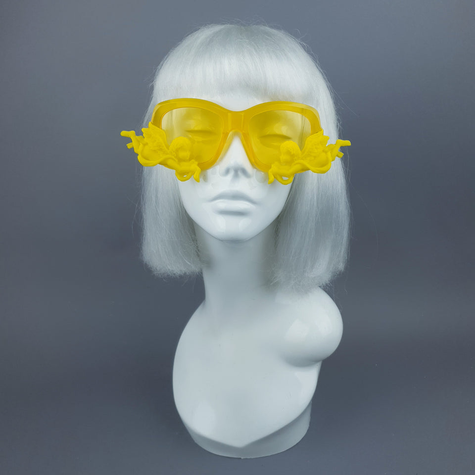 """Walking on Sunshine"" Yellow Unisex Sunglasses with Cherubs"