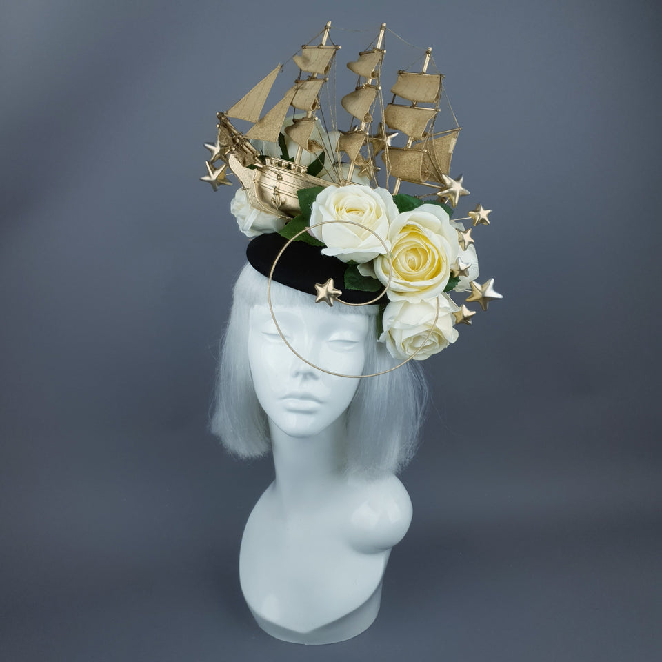 """Grace O'Malley"" Gold Ship, Stars & Ivory Roses Headdress"