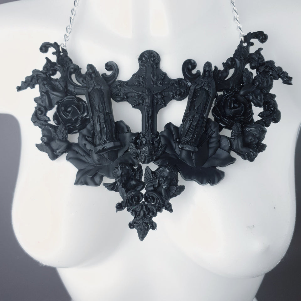 """Shrine"" Black Cross, Virgin Mary, Roses & Filigree Necklace"
