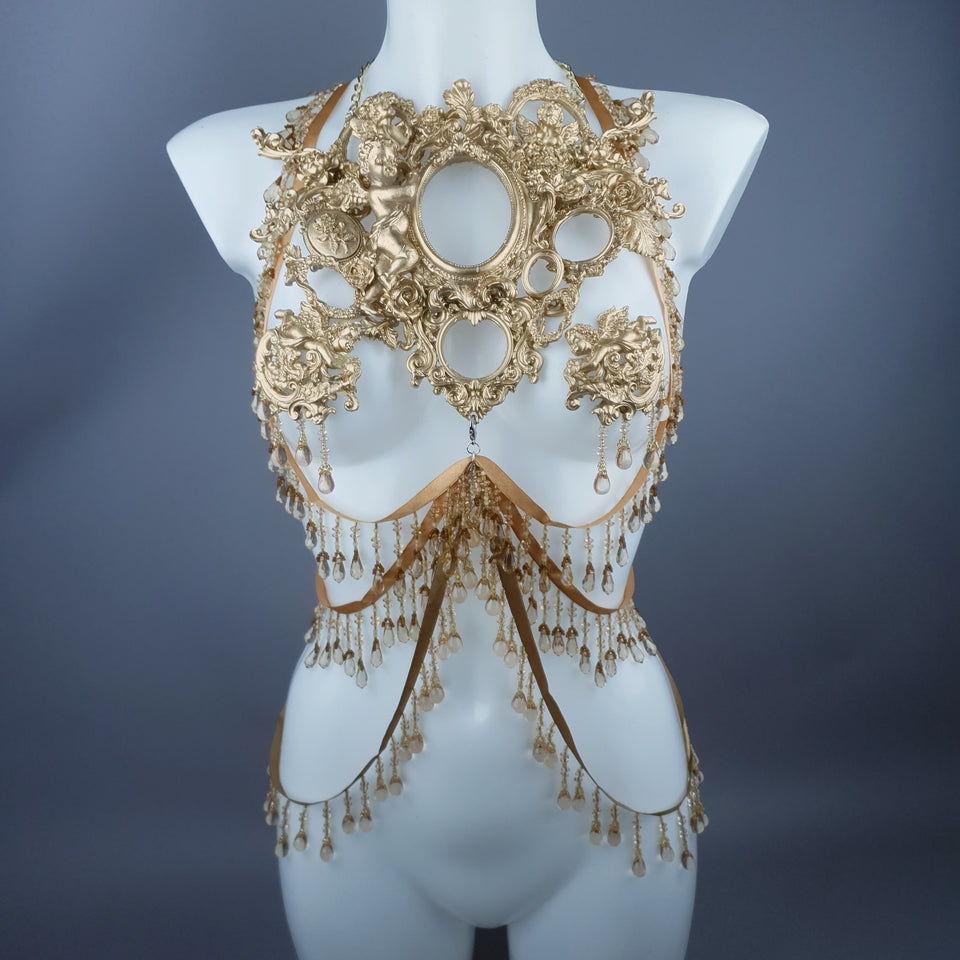 """Celeste"" Gold Filigree & Beading Jewellery Harness with Nipple Pasties"