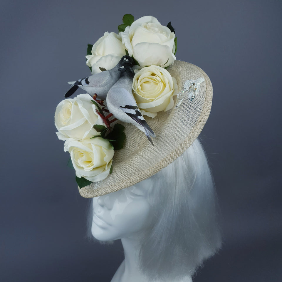 """Bleepity Bleeping Bleep!"" Ivory Rose Pigeon Poop Hat"