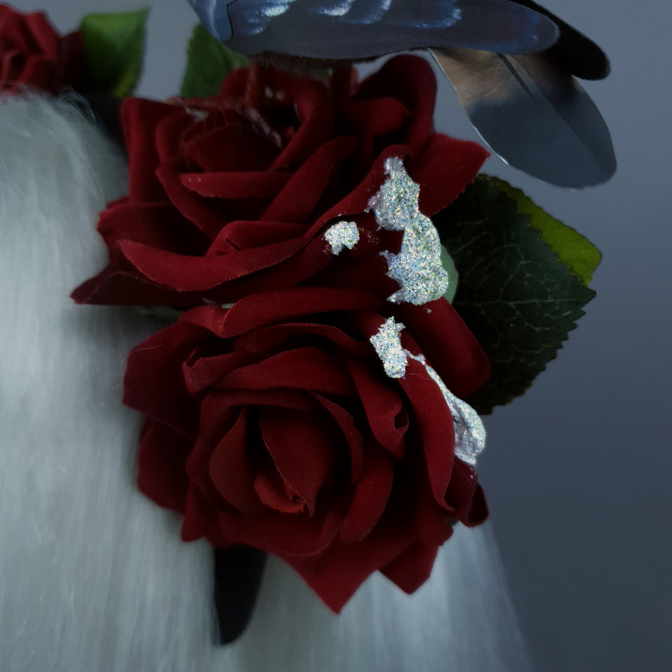 """Dagnabbit!"" Whimsical Pigeon Poop & Red Roses Headband"