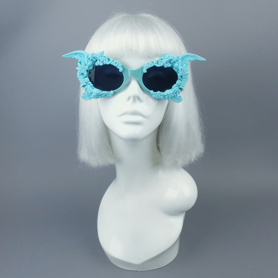 """Alya"" Pastel Blue & Black Filigree & Skull Sunglasses"