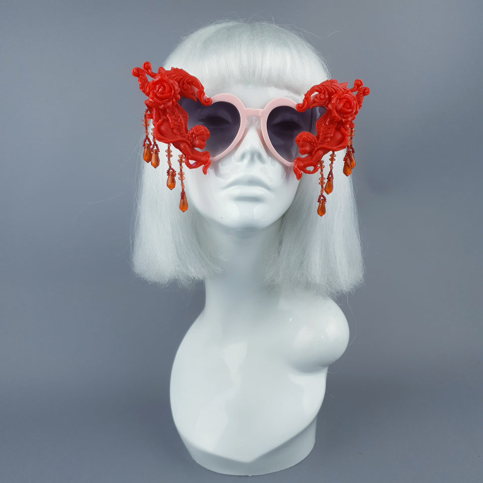 """Seraphina"" Pink & Red Cherub, Filigree & Beading Heart Shaped Sunglasses"