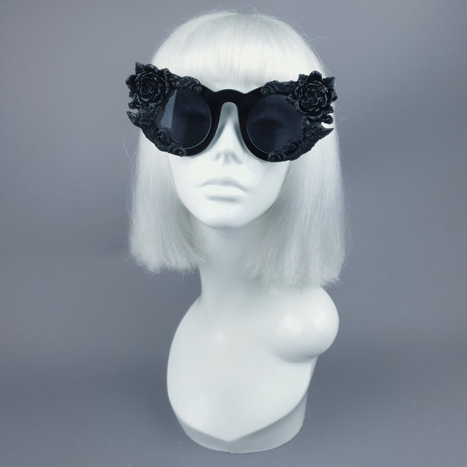 """Rosangela"" Black Roses, Cherub & Filigree Sunglasses"