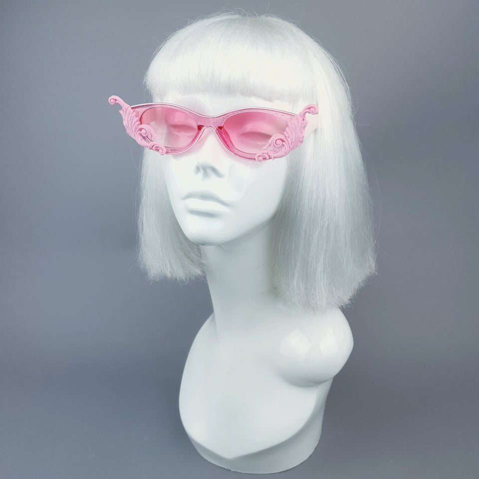"""Jannah"" Pink Glitter Catseye  Sunglasses with Filigree"