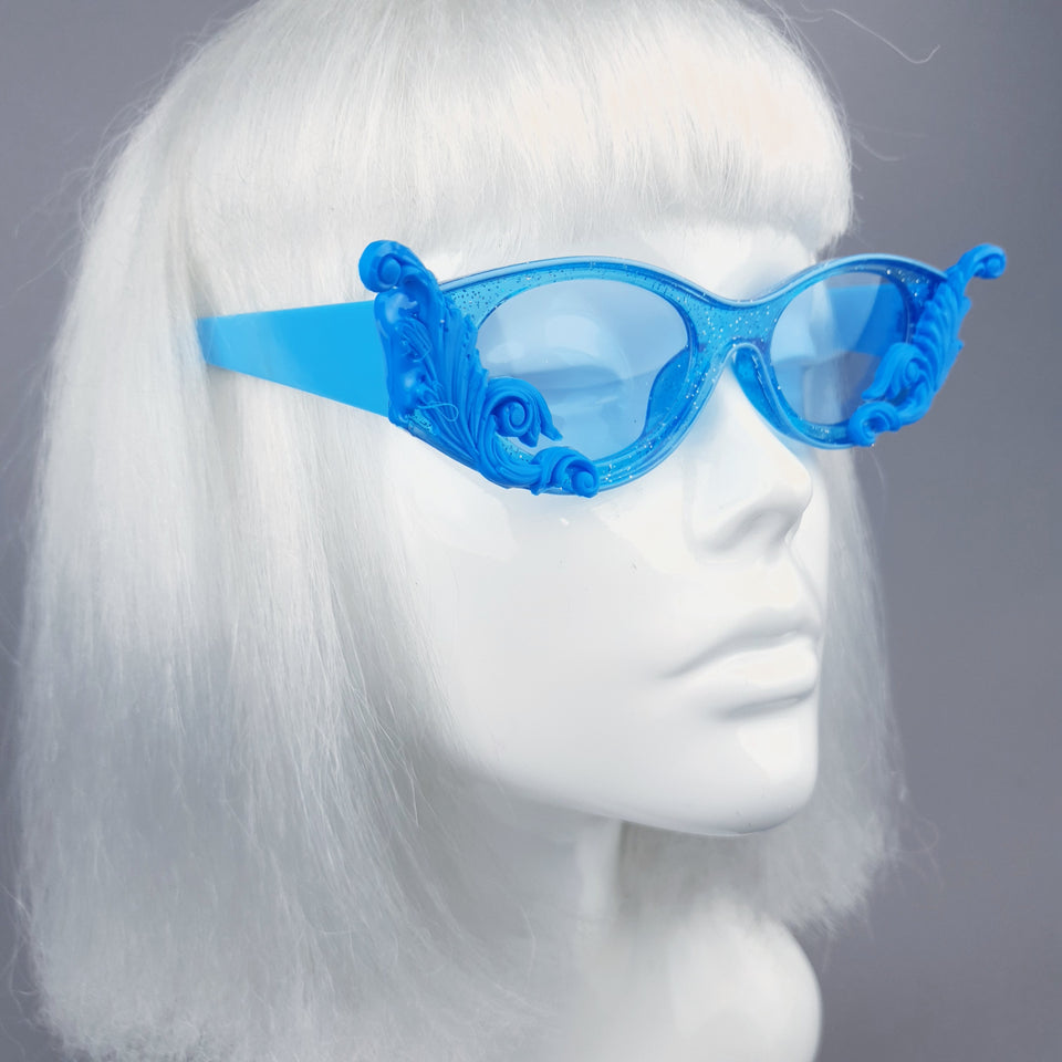 """Jannah"" Blue Glitter Catseye  Sunglasses with Filigree"