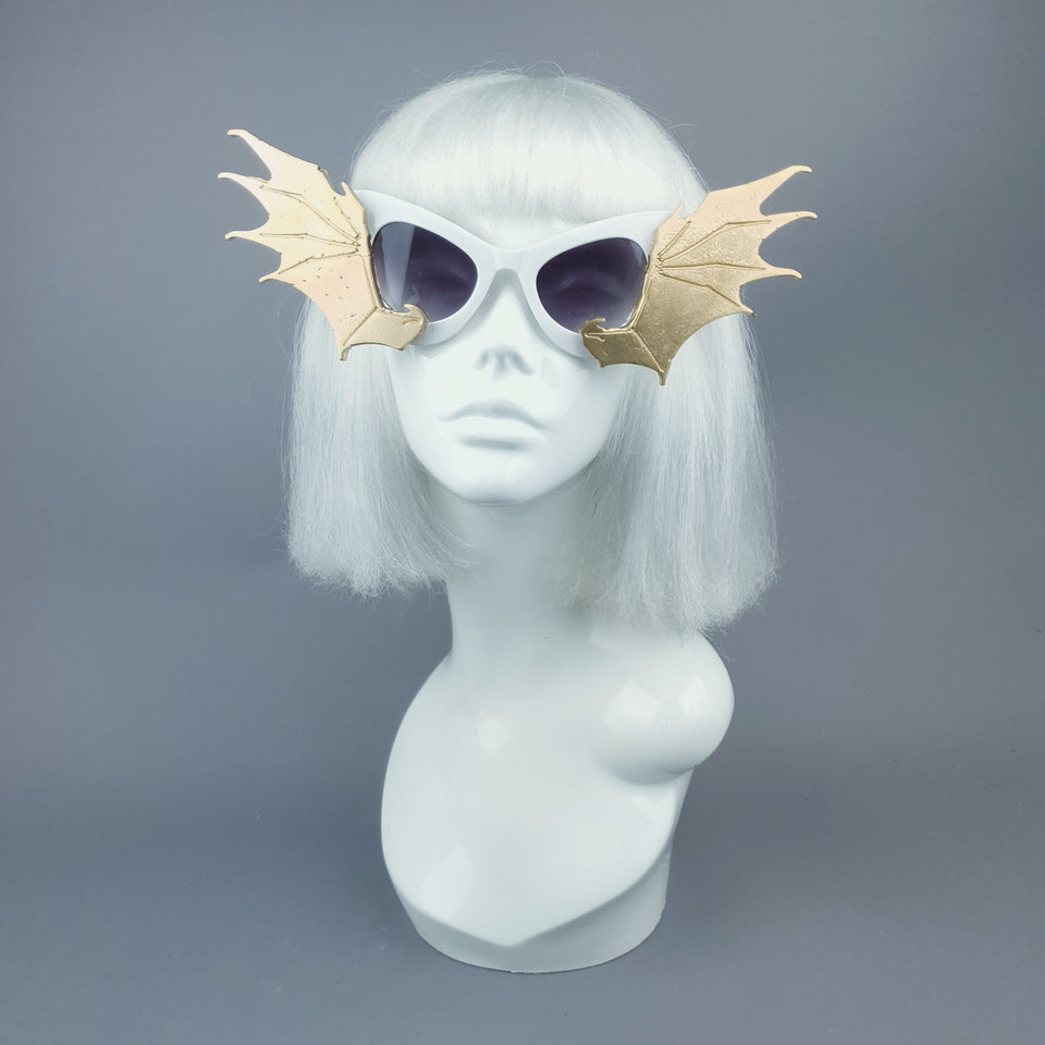 """Devour"" Gold & White Bat Wing Catseye Sunglasses"