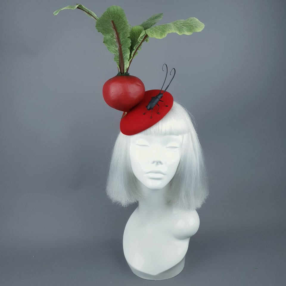 """Buba"" Red Beetroot & Bug Fascinator Hat"