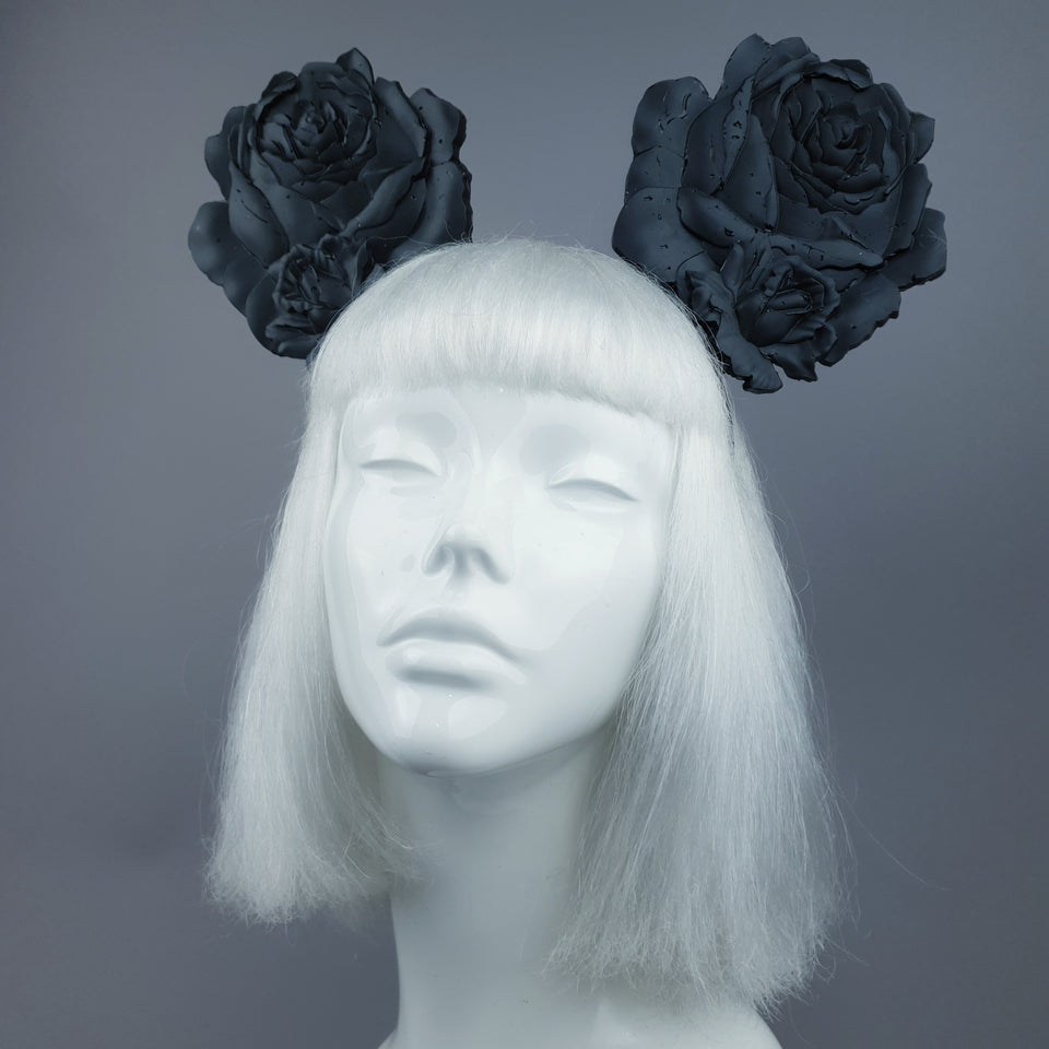 """Oreille"" Giant Black Rose Ears Headband"