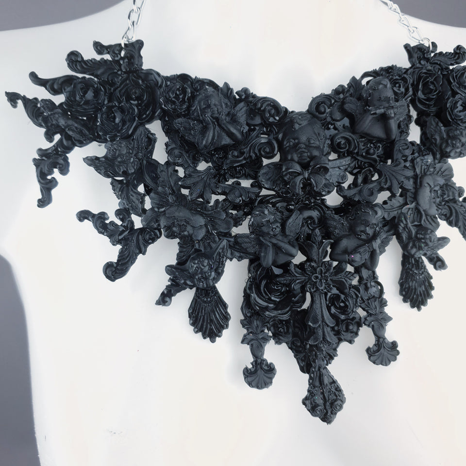 """Raphaela"" Black Cherub & Filigree Necklace"