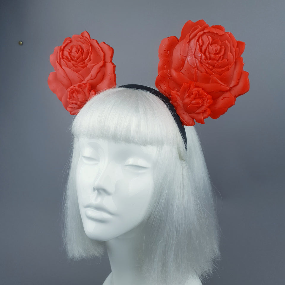 """Oreille"" Giant Red Rose Ears Headband"