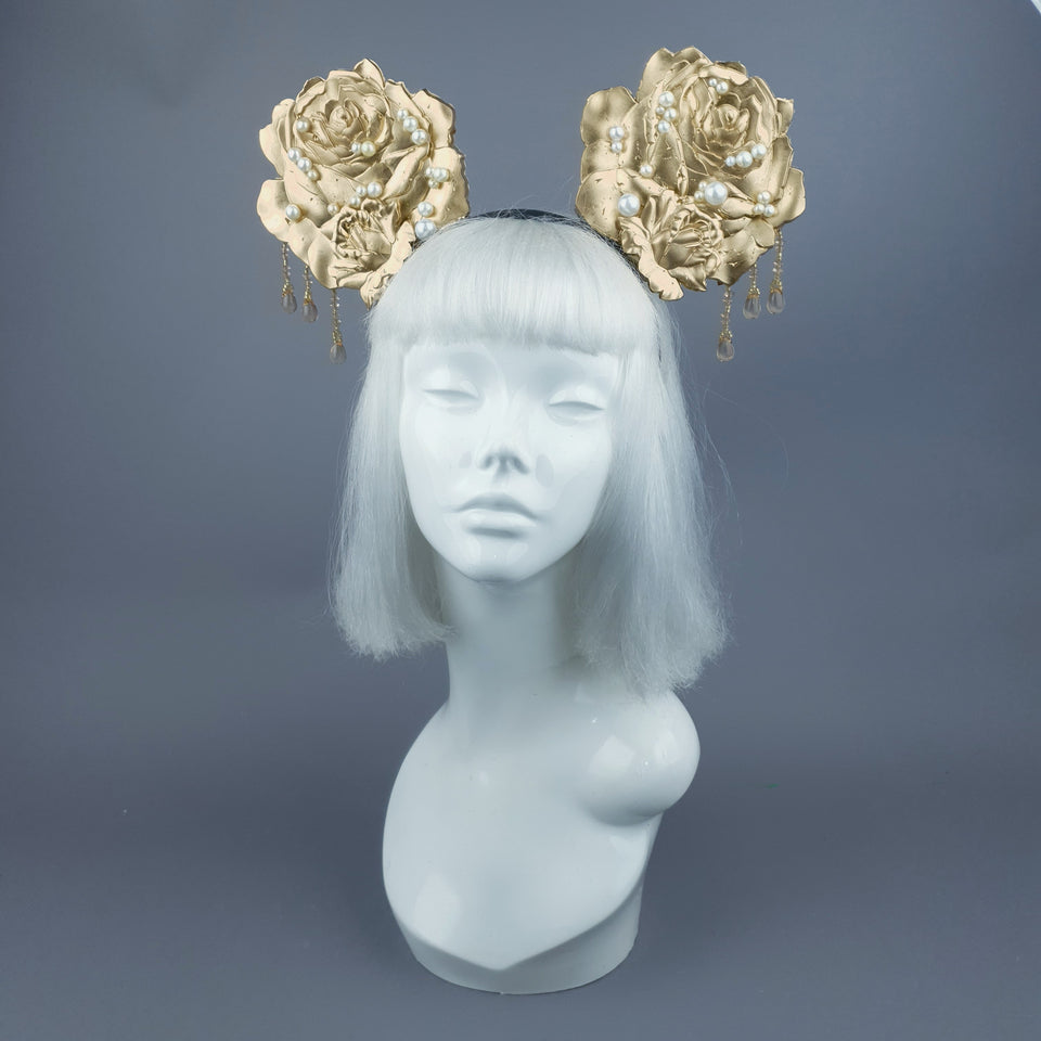 """Oreille"" Giant Gold & Pearl Rose Ears Headband"