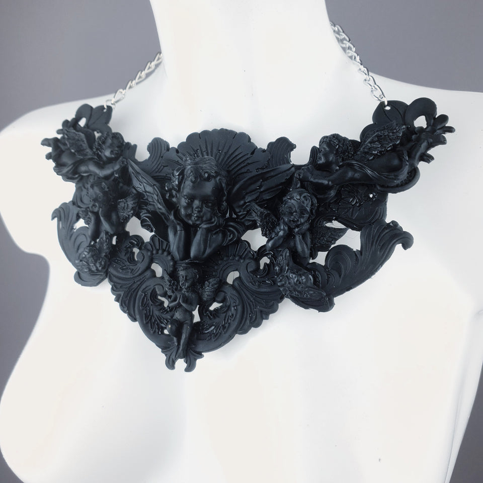 """Host"" Black Cherub & Filigree Necklace"